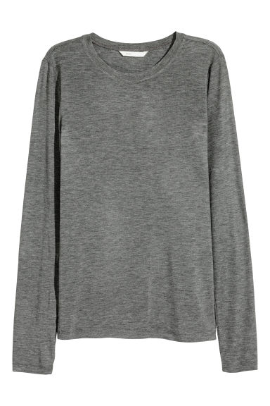 Long-sleeved top - Grey marl - Ladies | H&M CN 1