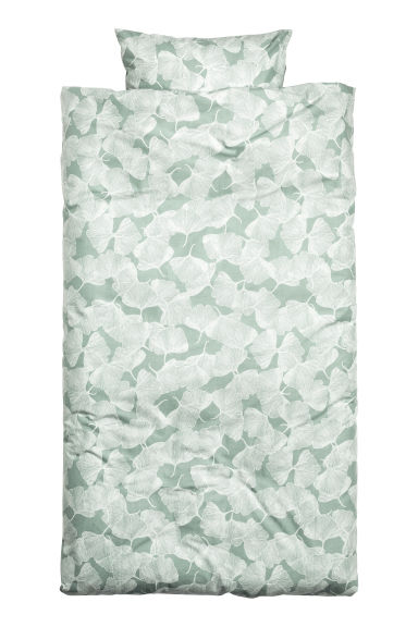 Patterned duvet cover set - Dusky green - Home All | H&M CN 1