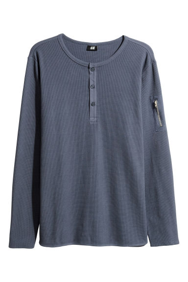 Waffled Henley shirt - Grey-blue -  | H&M 1