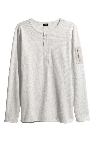 Waffled Henley shirt - Light grey - Men | H&M 1