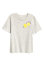 T-shirt with a motif - Grey/Lemon - Ladies | H&M GB 2