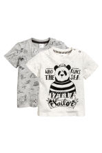 Lot de 2 T-shirts - Gris chiné -  | H&M FR 1