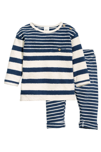 Top and trousers - Dark blue/Striped - Kids | H&M 1