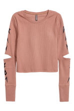 Text-print jersey top - Nougat - Ladies | H&M 2