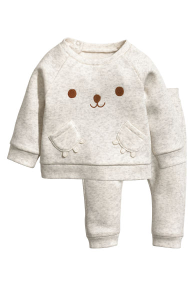 Sweatshirt and trousers - Light grey marl - Kids | H&M 1