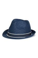 Straw hat - Dark blue -  | H&M 1