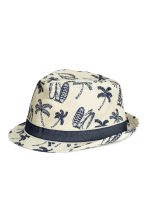 Straw hat - Natural white/Palms -  | H&M CA 1