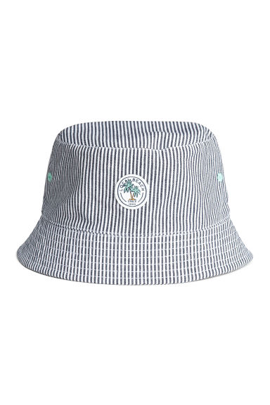 Cotton fisherman's hat - Dark blue/Striped - Kids | H&M CN 1