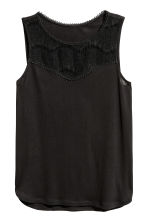 Sleeveless top with lace - Black - Ladies | H&M CN 2