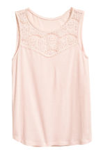 Sleeveless top with lace - Powder pink - Ladies | H&M 2