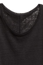 Linen round-neck top - Black - Ladies | H&M 3