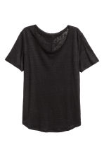 Linen round-neck top - Black - Ladies | H&M CN 3