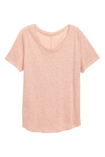 Linen round-neck top - Powder pink - Ladies | H&M 2