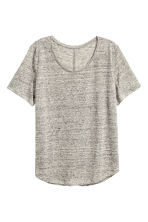 Linen round-neck top - Grey marl - Ladies | H&M 2