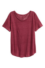 Linen round-neck top - Burgundy - Ladies | H&M 2