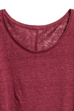 Linen round-neck top - Burgundy - Ladies | H&M 3