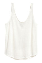 Linen jersey vest top - White - Ladies | H&M CN 2