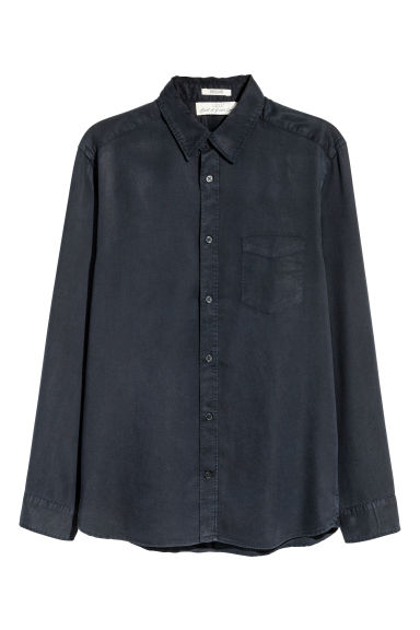Lyocell shirt - Dark blue -  | H&M