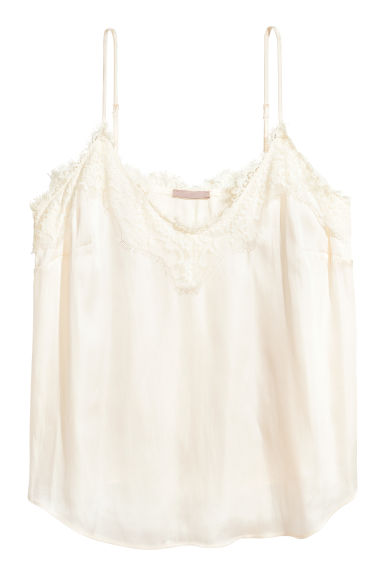 H&M+ Satin top - Natural white - Ladies | H&M 1