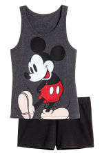 Pyjamas with top and shorts - Dark grey/Mickey Mouse - Ladies | H&M CN 2