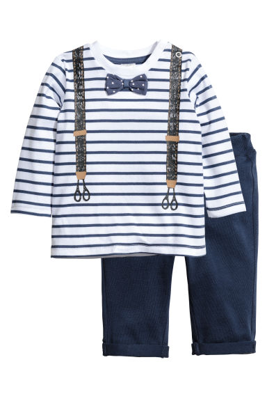 Long-sleeved top and trousers - White/Dark blue -  | H&M 1