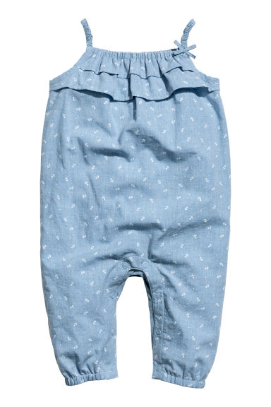 Patterned romper suit - Light denim blue -  | H&M CN 1