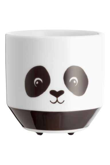 Pot de fleur à motif animal - Blanc/panda - Home All | H&M FR 1