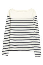 Top met boothals - Wit/gestreept - DAMES | H&M BE 2