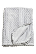 Zigzag-patterned blanket - Light grey - Home All | H&M CN 2