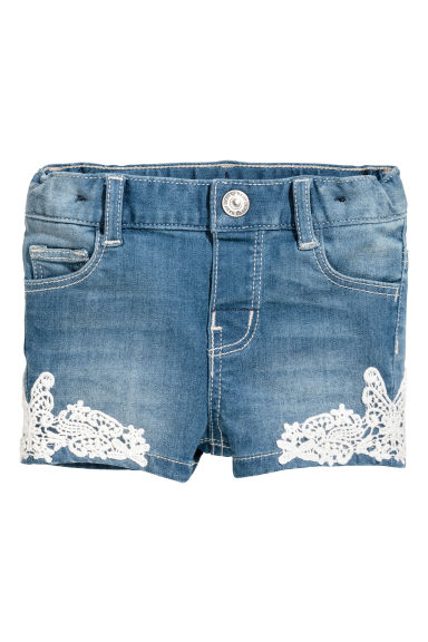 Denim shorts with lace - Denim blue - Kids | H&M CA 1