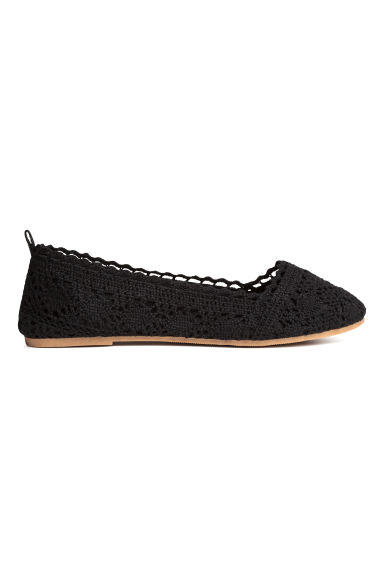 Lace-patterned ballet pumps - Black -  | H&M