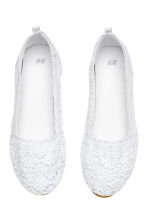 Lace-patterned ballet pumps - White -  | H&M CA 2