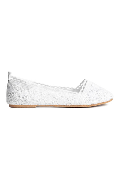Lace-patterned ballet pumps - White -  | H&M