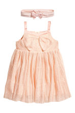 Tulle dress with a hairband - Powder pink/Glittery - Kids | H&M CN 1