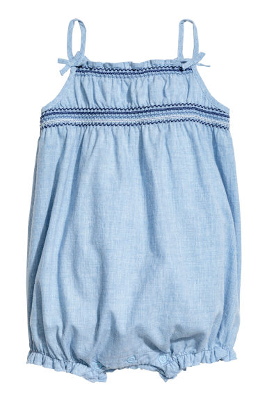 Cotton romper suit - Light blue/Chambray -  | H&M CN 1