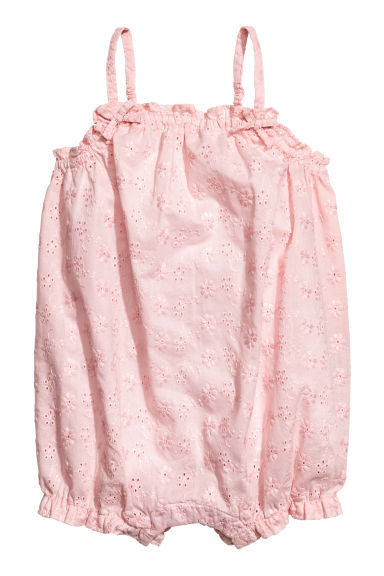 Cotton romper suit - Light pink -  | H&M 1