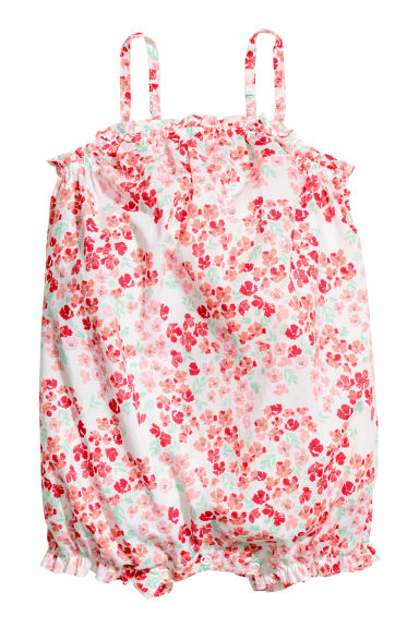 Cotton romper suit - White/Floral - Kids | H&M CN 1