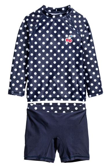 UPF 50 swim set - Dark blue/Spotted -  | H&M 1