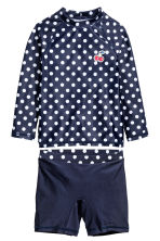 UPF 50 swim set - Dark blue/Spotted -  | H&M CA 1
