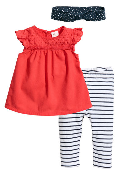 Three-piece cotton set - Coral red - Kids | H&M 1