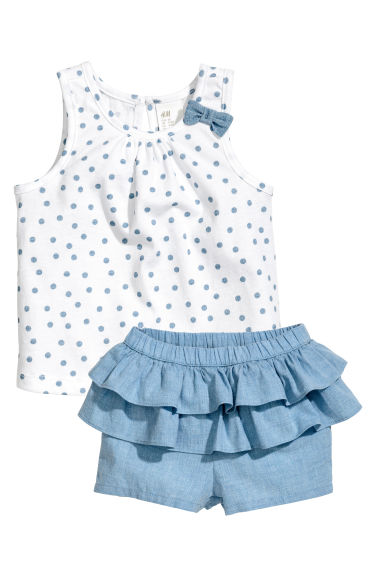Vest top and frilled shorts - White/Blue -  | H&M 1