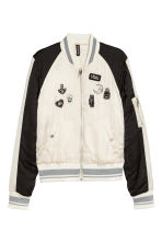 Short bomber jacket - White/Black - Ladies | H&M CN 2