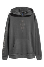Printed hooded top - Black washed out - Men | H&M 2