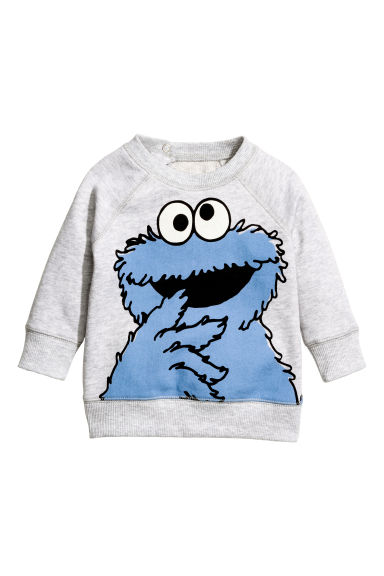 Printed sweatshirt - Light grey/Sesame Street - Kids | H&M 1
