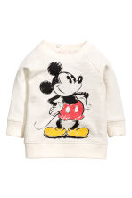 Printed sweatshirt - Natural white/Mickey Mouse - Kids | H&M 1