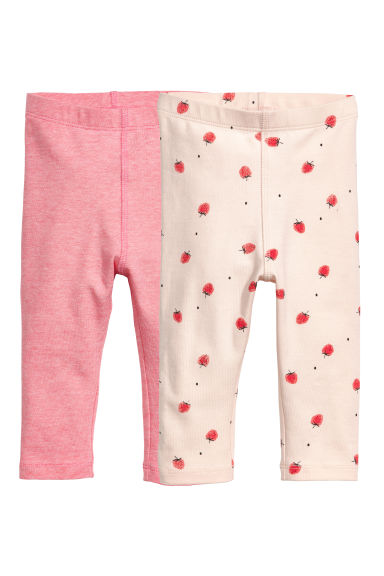2-pack leggings - Rosa/Randig - BARN | H&M FI
