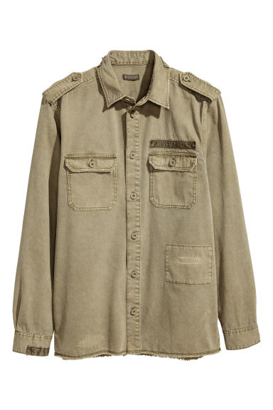 Cotton twill utility shirt - Khaki green - Men | H&M CN 1