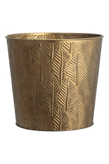 Large embossed metal plant pot