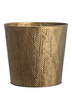 Large embossed metal plant pot - Gold - Home All | H&M GB 1