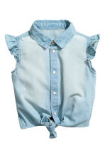 Denim tie-front blouse - Light denim blue - Kids | H&M CA 2